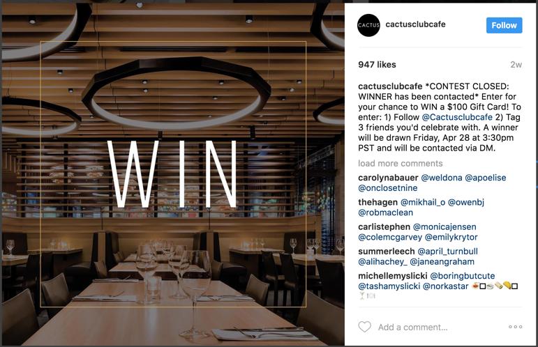 restaurant social media giveaway